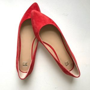 Joe's Jeans Red Fall Suede Pointed Toe Flats 9.5